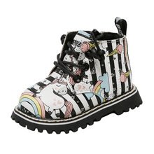 Unicórnio cavalo arco íris microfibra couro infantil botas sola dura sapatos de bebê meninas crianças inverno primeiros caminhantes prewalker 0 24month