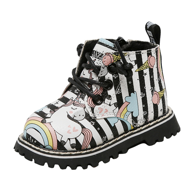 Unicorn Horse Rainbow Microfiber Leather Baby Boots Girls Fashion High-Top Shoes Kids Winter First Walkers Prewalkers 0-24month