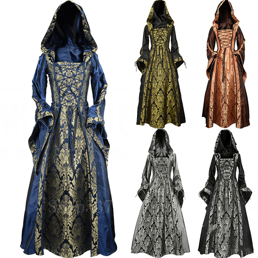 Noble Woman Palace Dress Medieval Victorian Vintage Print Bandage Halloween Costume Party Renaissance Hooded Evening Vestido