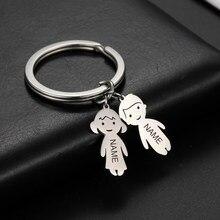 Gravur Name Datum Kind Familie Keychain Custom Edelstahl Schlüssel Ring Junge Mädchen Kid Anhänger Für Mann Frauen Schmuck