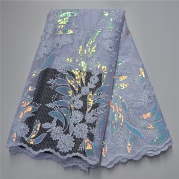 New Design High Quality Organza Lace Fabric Sequin Embroidery high-class Net Lace Fabric For Dress