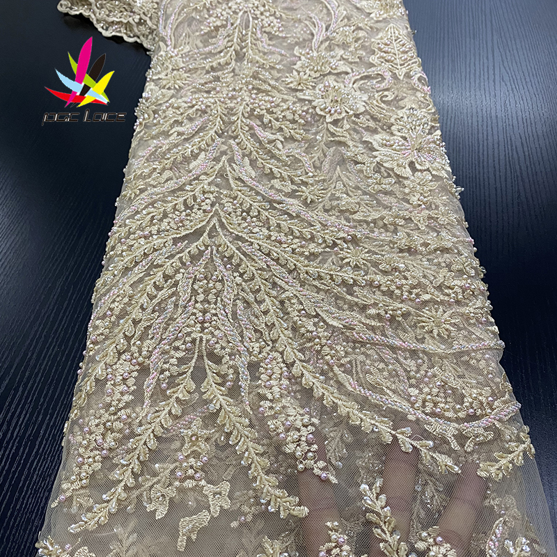 New French Tulle Mesh Lace Fabric Best Quality Beaded Lace Fabrics Luxury African Handmade Beads Lace Fabric for Wedding XZ3001B image