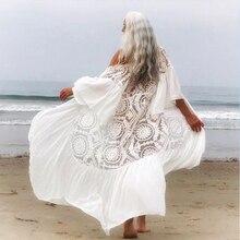 In x biała seksowna siatka plażowa sukienka kobiety strój kąpielowy z falbanką cover up kobieta Kimono długa plaża nosić Cover ups strój kąpielowy kaftan nowy