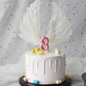 Image 4 - 1 pcs 새로운 생일 풍선 촛불 핑크 블루 캔들 생일 케이크 장식 0 9 번호 촛불 아이 생일 파티 장식을 선호한다