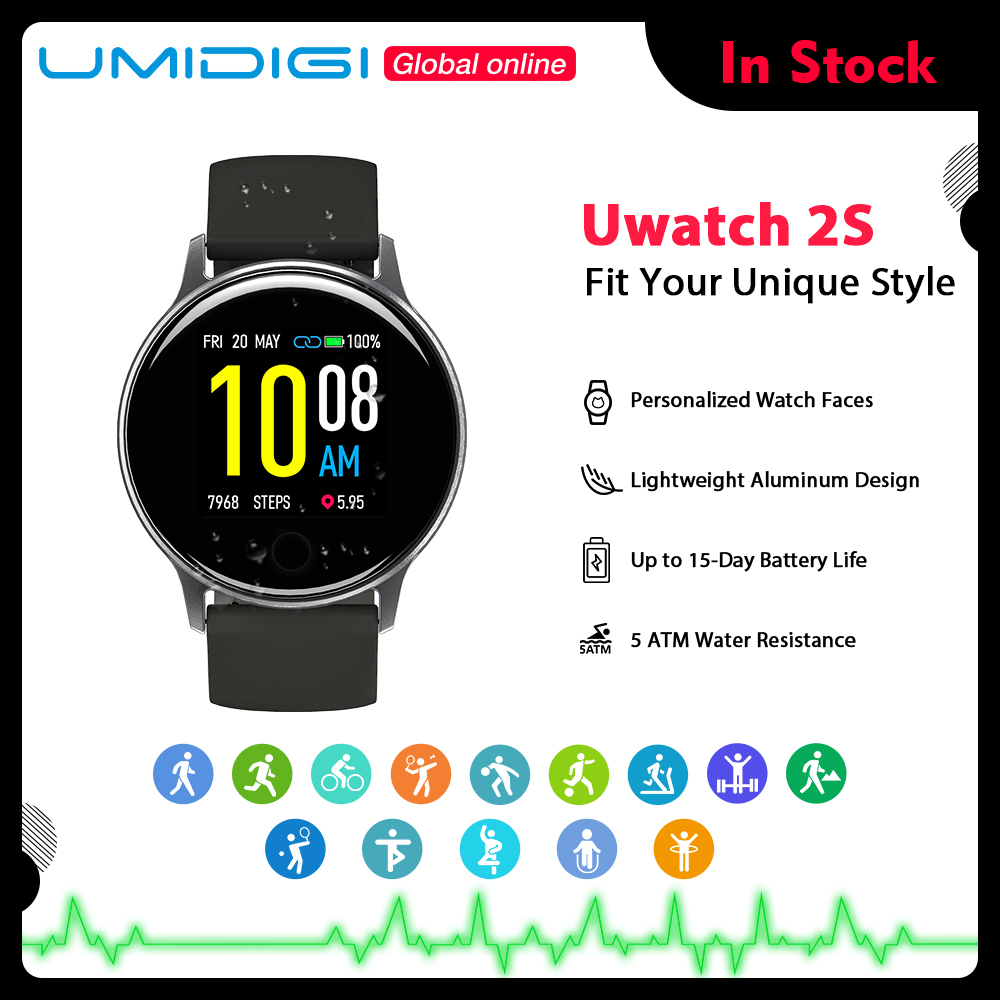UMIDIGI Uwatch 2S Sport Smart Watch Men 5ATM Waterproof 1 3inch Clock Heart Rate Sleep Monitoring Women Smartwatch For Android IOS