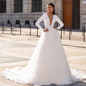 Image 3 - Ashley carol vestido de casamento de manga longa 2020 elegante cetim com decote em v frisado apliques de renda princesa vestido de noiva