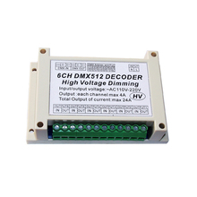 6CH DMX512 Decoder AC110V-220V High Voltage Dimming 6 Channels DMX 4A/CH HV Led Dimmer Board For Stage Light Lamp