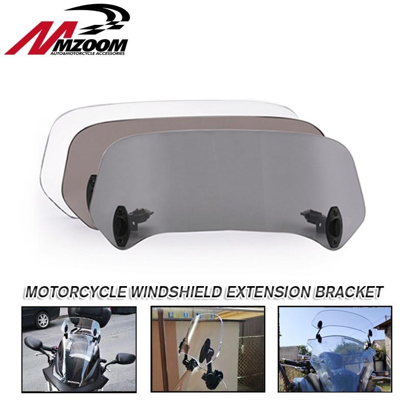 Motorcycle Windshield Extension Bracket Adjustable Clip On Spoiler Windscreen Air Deflector For BMW Honda Suzuki Yamaha Kawasaki