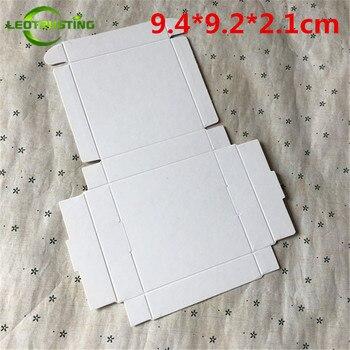Caja de papel blanco en blanco 50 piezas 9,4*9,2*2,1 cm cartón blanco caja de embalaje de regalo hecha a mano caja de papel para fiesta de boda