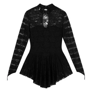 Image 4 - TiaoBug Adult Mock Neck Long Sleeve Soft Lace Ballet Gymnastics Leotard Women Figure Ice Skating Dress Competition Dance Costume