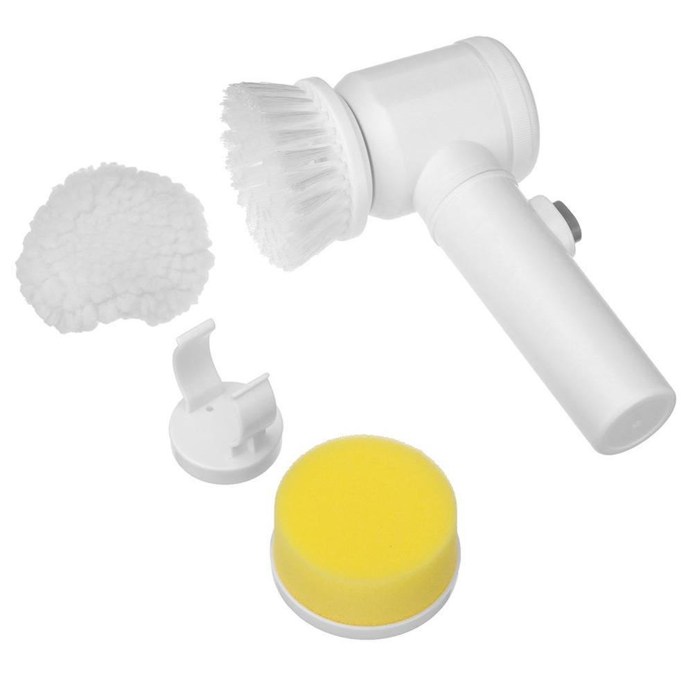 Housework Abs+nylon Material Three Modes Four-cell Battery Power Designed Exquisite 5-in-1 Bathtub Electric Cleaning Brush