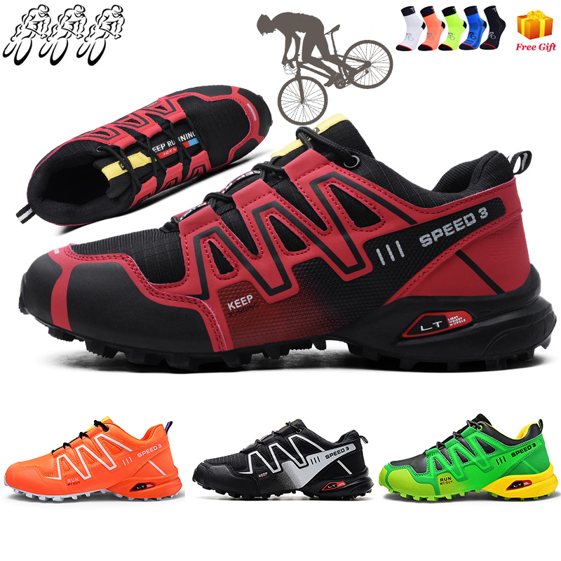 2021 New Mountain Biking Shoes Men's Large Size Outdoor Sports Trekking Hiking MTB Cycling Shoes Flat Road Cycling Shoes Men