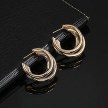 Модные золотые металлические висячие серьги za для женщин большие
