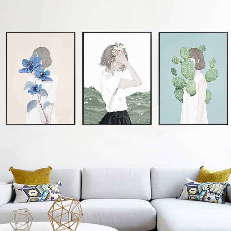 Кактус Плакаты для девочек принты скандинавские Современные Простые Модные портреты холст настенная художественная живопись картины для декора гостиной