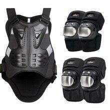 Proteção da motocicleta conjunto armadura almofada de joelho cotovelo protetor peito apoio traseiro motocross moto corpo guarda engrenagem terno