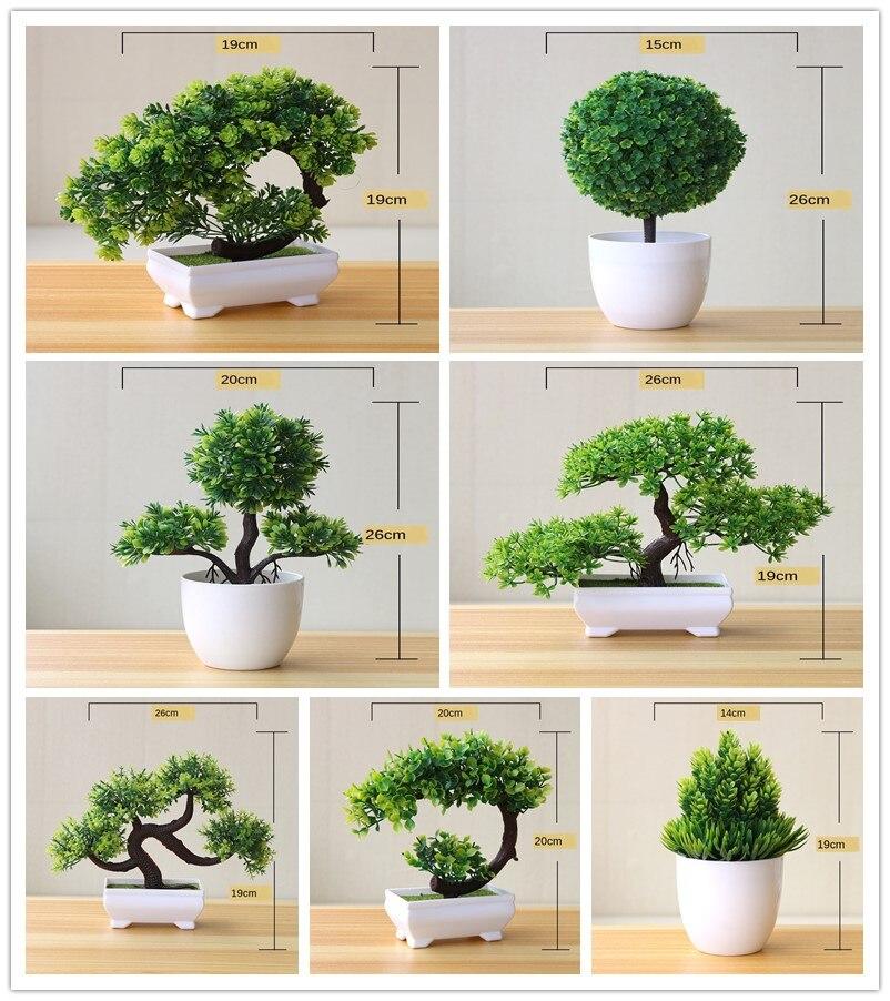 Искусственные комнатные растения бонсай зеленый маленькие древовидные растения, искусственные цветы украшения в горшках для домашнего де...