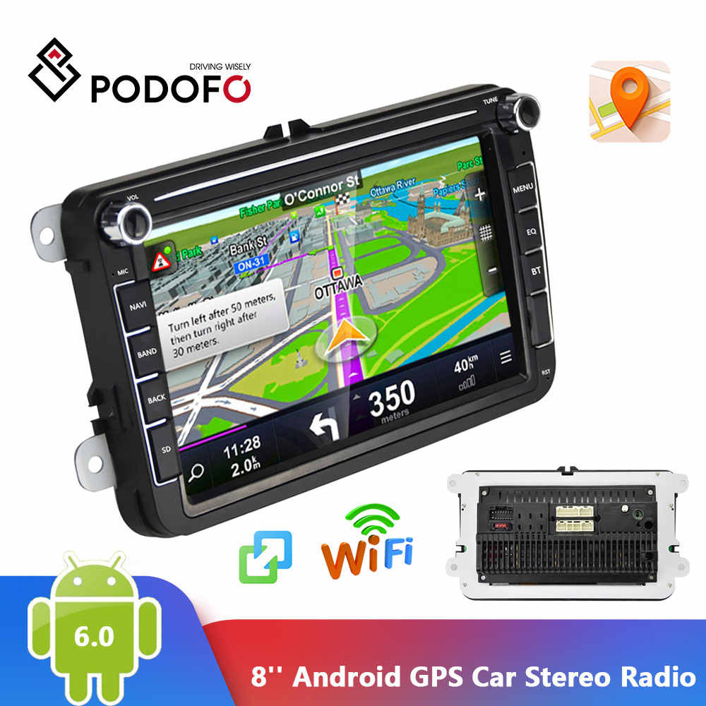 Podofo 2 Din Car Radio GPS Android 8,1 Autoradio 8 pulgadas de pantalla HD coche Bluetooth de Audio estéreo de Radio de coche 2din MP5 reproductor Multimedia