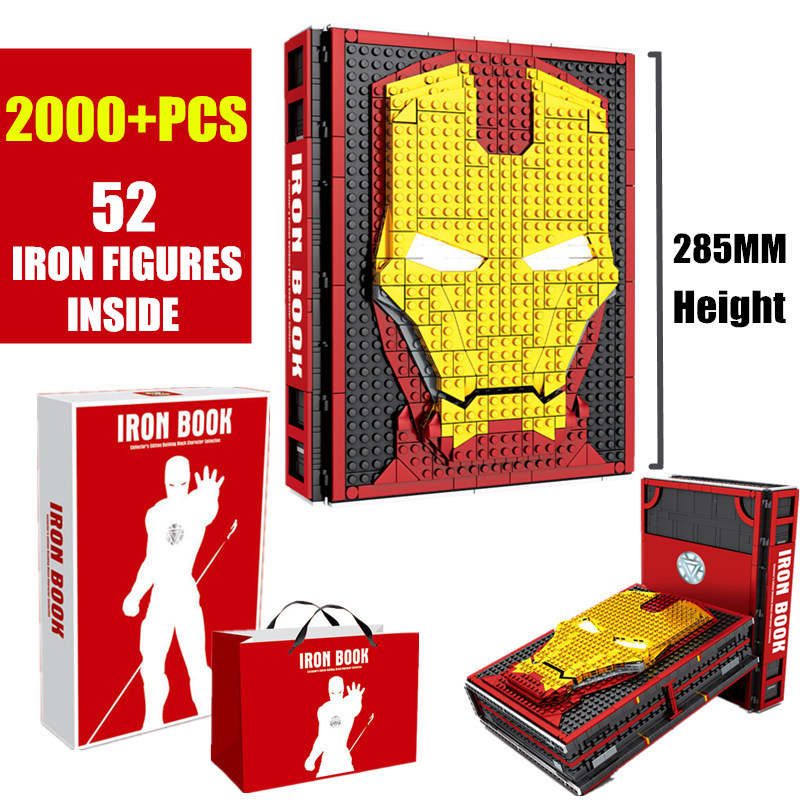 New MOC Iron Man Collections Book Fit Legoings Marvel Avengers Building Blocks Bricks Toys SY1361 Christams Gifts For Children