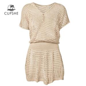 Image 5 - CUPSHE Ivory / Black Crochet Bikini Cover Up Women Sexy V neck Mesh Cut Out See through Tunic Beach Dress 2020 Summer Beachwear