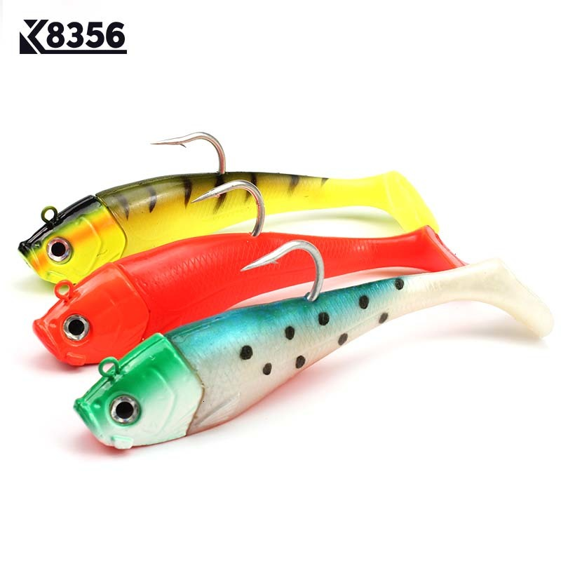 K8356 3D Fish Eyes Fishing Lure Lead Head Big Soft Bait Jig Sinking Crankbait Saltwater Soft Bait Single Hook 20cm 300g image