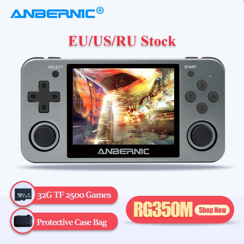 ANBERNIC Retro Game Player RG350M RG350 3.5 IPS 64Bit 32G TF 2500 Games RG 350 HDMI TV Output PS1 Portable Handheld Game Console