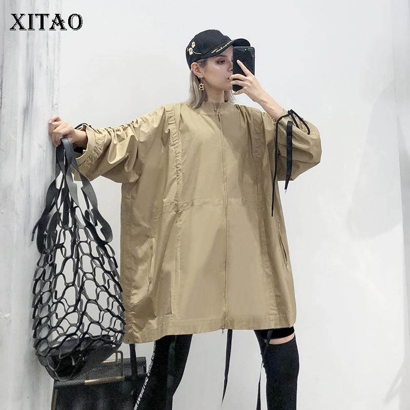 XITAO Plus Size Pleated Ribbon Pocket   Trench   Women Clothes 2019 Fashion Vintage Drawstring Coat Top Autumn New Korean WQR1833