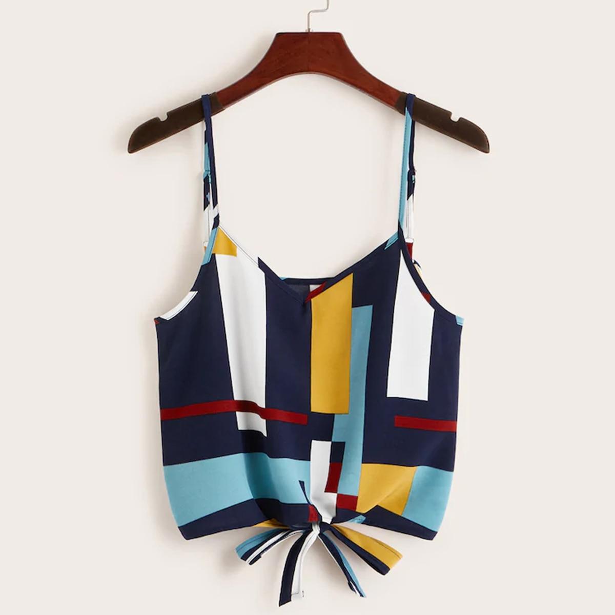 Crop Tank Vest Print Sexy Casual Women Summer Sleeveless Geometric
