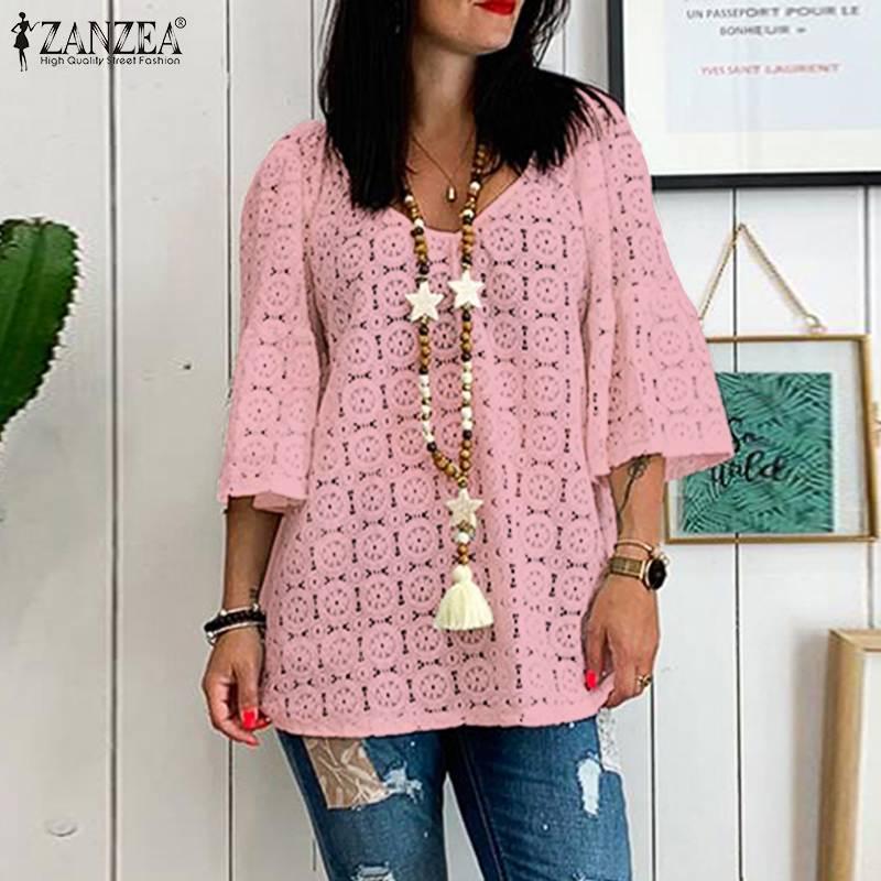 ZANZEA Women Summer V Neck Flare Sleeve Lace Crochet Blouse Hollow Out Shirt Tops Tunic Plus Size Loose Chemise Femininas Blusas