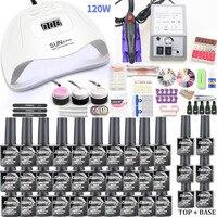 Zestaw do paznokci 120/54W lampa led uv żel zestaw do paznokci zestaw i 20000 obr/min elektryczna wiertarka do paznokci narzędzia do paznokci Manicure UV zestaw do przedłużania rzęs