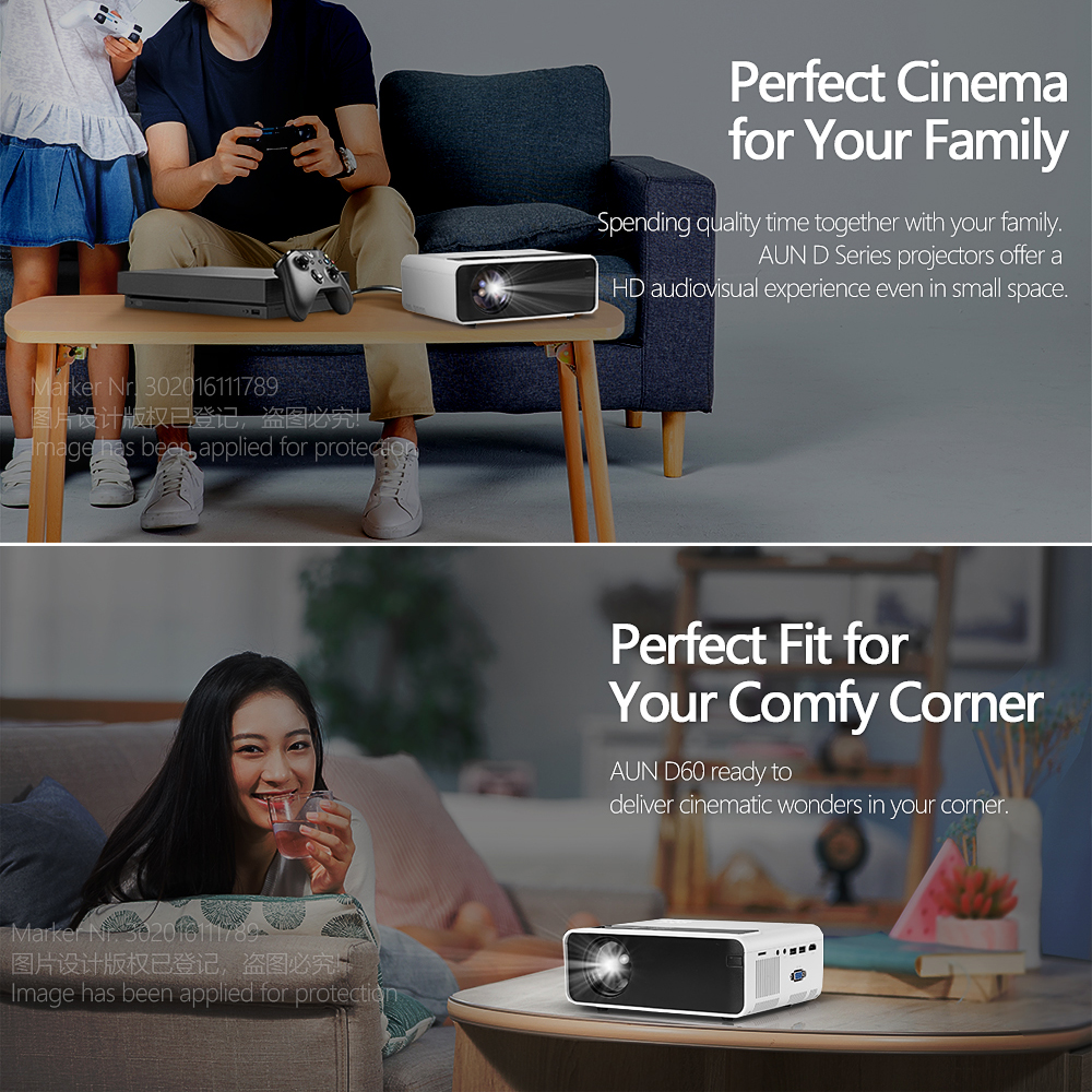 Image 4 - AUN MINI Projector D60S, 1280x720P, Android 6.0 WIFI Bluetooth, LED Proyector for 1080P Home Cinema, Video Beamer, Optional D60-in LCD Projectors from Consumer Electronics