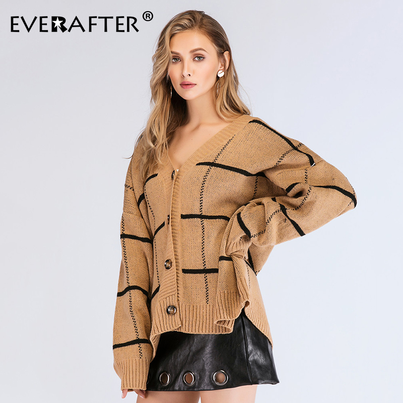 EVERAFTER Vintage v neck women cardigan sweater knittd striped button loose sweaters outwear 2019 Autumn winter female cardigans in Cardigans from Women 39 s Clothing