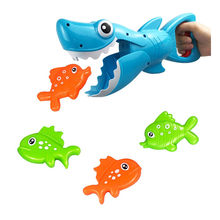 Kids Baby Toys Shark Grabber Bath Toy for Boys and Girls Blue Shark with Teeth with 4 Toy Fishe Drop Shippin G916(China)
