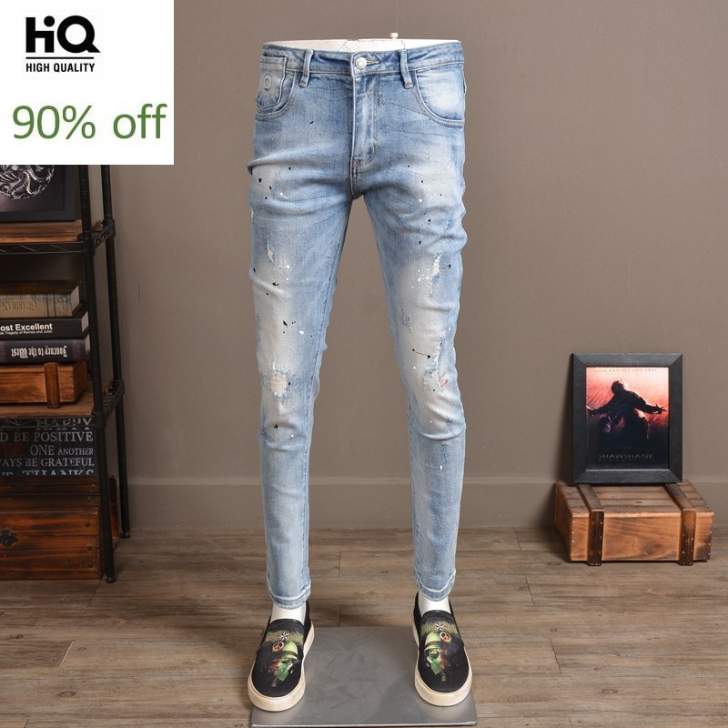Brand Fashion Mens Hole Ripped Stretch Jeans Korean Slim Fit Pencil Pants Printed Vintage Washed Long Trousers High Street Jeans