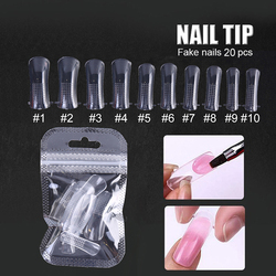 20pcs/set Clear Nail Forms Acrylic False Fake Nails Full Cover Quick Building Mold Tips Dual Forms Nail Finger Extension