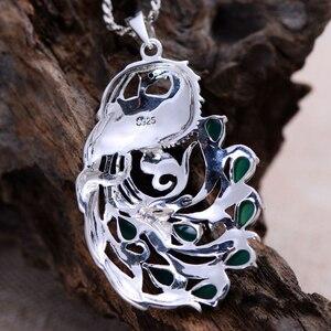 Image 4 - Gerçek saf 925 ayar gümüş tavuskuşu doğal taş kolye kadınlar için kakma yeşil kalsedon markazit