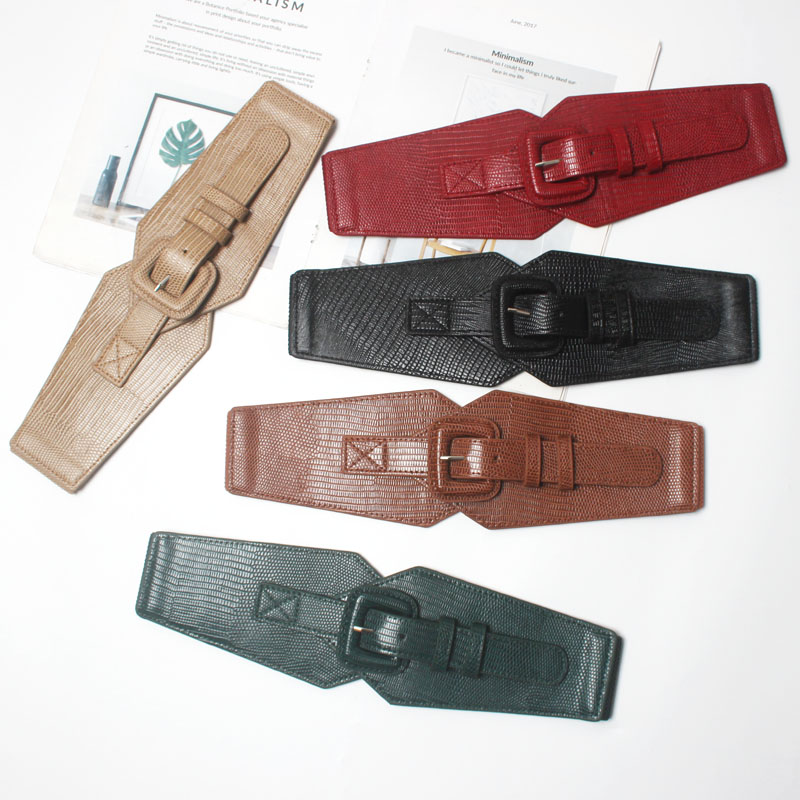 Women Fashion Croset Sexy Wide Belts Square Buckle PU Elastic Belts Waistband Red Black Brown Beige Green 2019 Autumn Winter