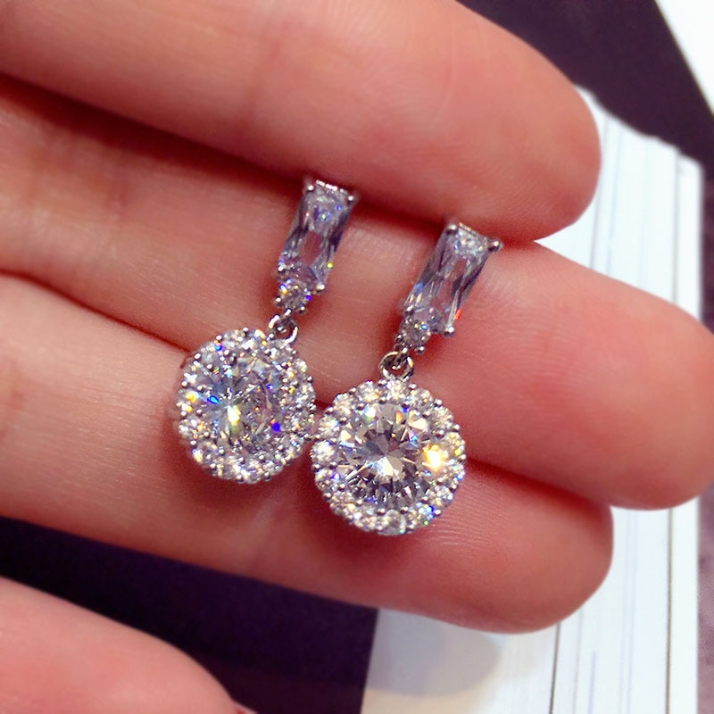 Female Crystal White Zircon Stud Earrings Fashion Engagement Wedding Jewelry Boho Bow Round For Women