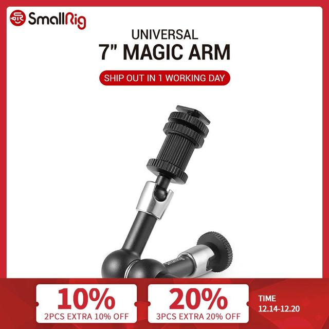 """SmallRig Регулируемый фрикционный шарнирный магический рычаг длиной 7 дюймов с креплением холодного башмака и стандартным резьбовым адаптером 1/4 """" 20 1/4"""