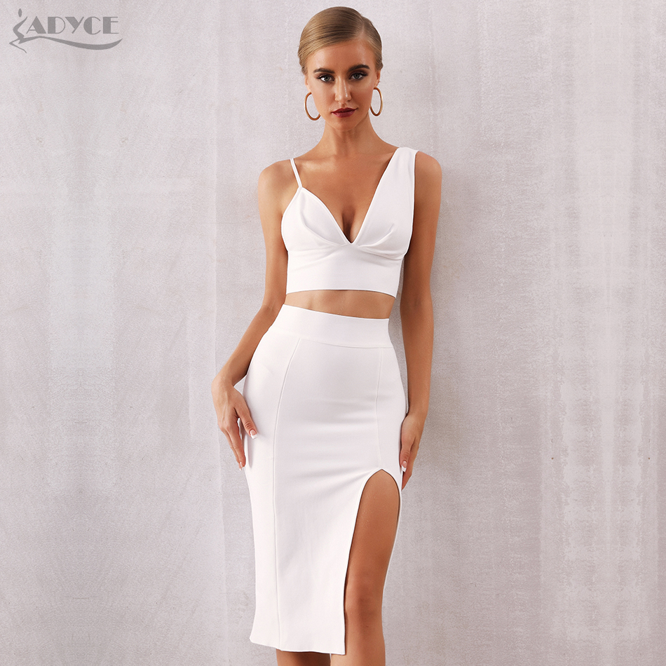 ADYCE New Summer Women White Bodycon Bandage Set Vestido 2 Two Pieces Set Sexy Spaghetti Strap Top Celebrity Evening Party Dress