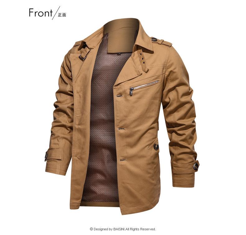 Hommes US4XL Coton Fermeture Éclair Veste Militaire Open Front Stand col Casual Manteau Outwear