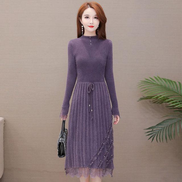 Fashion faux mink beading ruffle dress female 2020 new autumn winter sexy lace patchwork long sleeve dresses elegant party dress 1