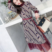 Korean Fashion Women Dress Woman Sweaters Dress Women Striped Pleated Belt Dresses Plus Size Woman High Waist Lace Sweater Dress flamingo print striped box pleated dress with belt