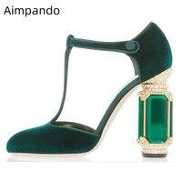 Luxury Velvet Heels Women 2019 Retro Wedding Shoes Rhinestone Diamond Jewel Heel T strap Pumps Shoes Women
