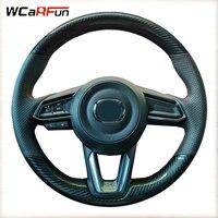 WCaRFun Carbon fiber Car Steering Wheel Cover For Mazda 3 Axela 2017 2018 2019 Mazda 6 Atenza 2017-2019 CX-3 2018-2019 CX-9 CX-5