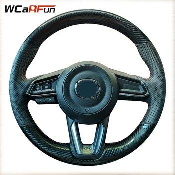 WCaRFun Carbon fiber Car Steering Wheel Cover For Mazda 3 Axela 2017 2018 2019 Mazda 6 Atenza 2017-2019 CX-3 2018-2019 CX-9 CX-5 multi function steering wheel switch audio bluetooth cruise control switch button for mazda 3 atenza axela cx5 cx 4 cx 5