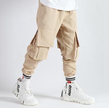 Retro mens pants stage personality Multi-pocket pant men casual trousers cotton black beige singer dance rock novelty