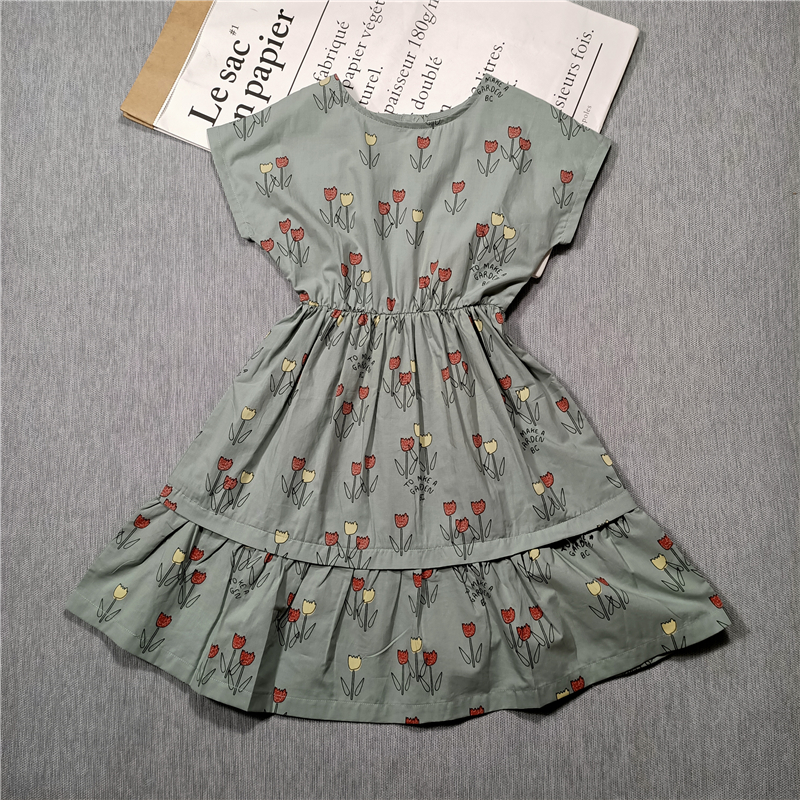 BOBOZONE 2020 Spring And Summer New Style Children's And Girls Dress Fashion Pattern Flower Print Skirt