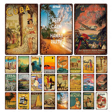 Cidade marco de metal poster viagem cuba pisa havaí paisagem dos desenhos animados placa de estanho placa cartaz para bar pub clube decoração da sua casa