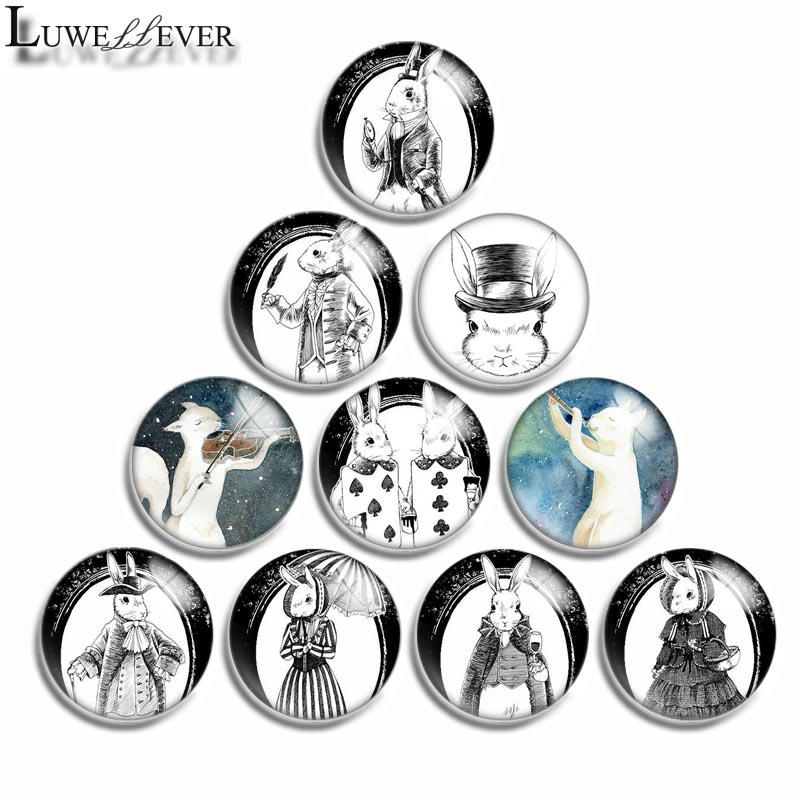 12mm 10mm 16mm 20mm 25mm 30mm 532 Rabbit Mix Round Glass Cabochon Jewelry Finding 18mm Snap Button Charm Bracelet