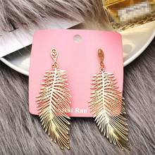 8Seasons Fashion Women Stud Earrings Gold Color Metal Leaf Girls Wedding Party Club Earrings Jewelry Gift 10.5cm x 3.5cm, 1 Pair long water drop gold silver earrings 2019 party color leaf stud earrings wedding engagement delica friendship jewelry pendientes